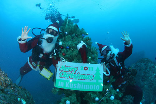 水中クリスマスツリー設置 その4